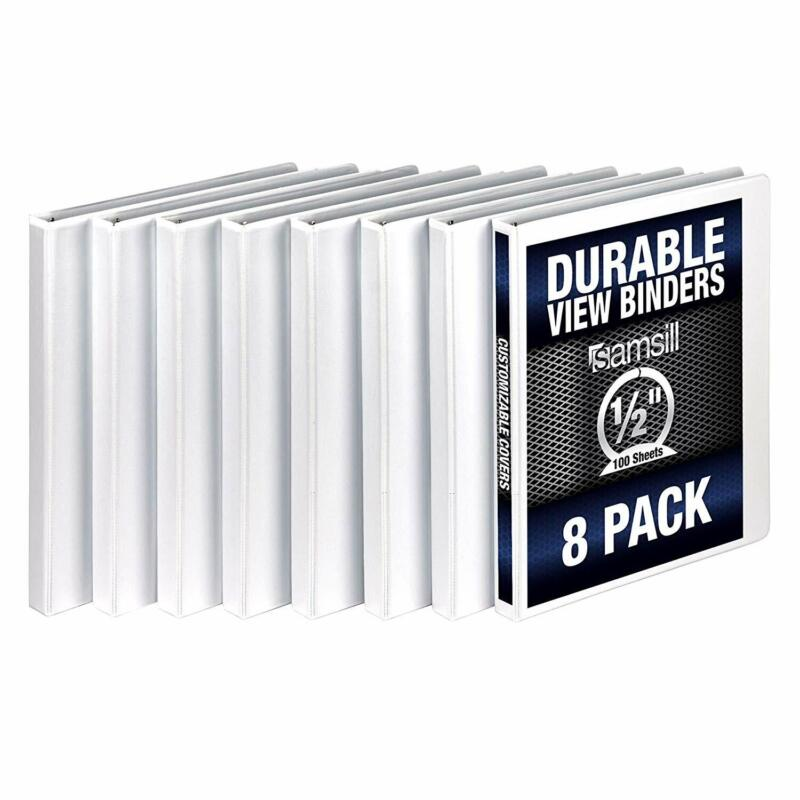 Samsill 3 Ring Durable View Binders - 8 Pack, 1/2 Inch Round Ring