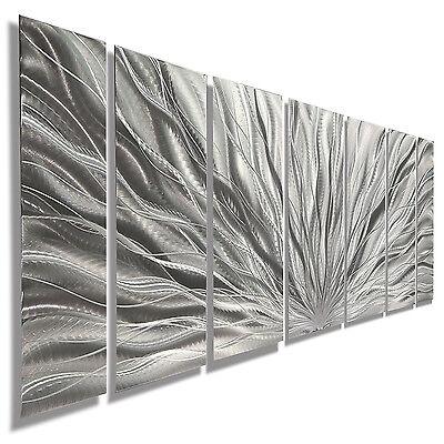 Modern Abstract Metal Home Art Wall Sculpture Silver Plumage by Artist Jon Allen