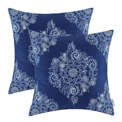 Calitime Cushion Covers Pillows Cases Navy Blue Mandala Flor