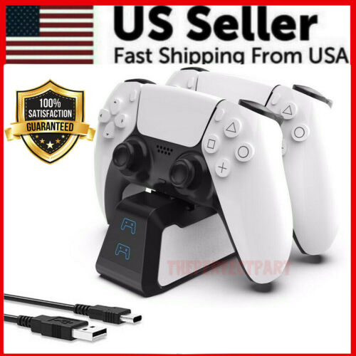 LED Dual Charger Dock Station Charging Stand for Sony PS5 DualSense Controller