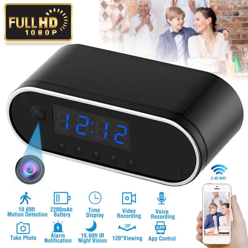 1080P Alarm Clock Camera Recorder Clock WiFi Wireless Night Vision Security Cam