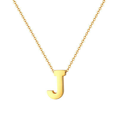 Women's Gold Tone Polish Charm A-Z Alphabet Initial Necklace Letter Pendant Gift