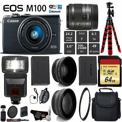 Canon EOS M100 Mirrorless Digital Camera (Black) +15-45mm Lens+ UV FLD CPL Filte