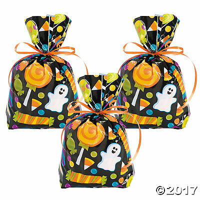 Halloween Goodie Bags (24 HALLOWEEN Party Favor CELLO Goody Loot TREAT BAGS CANDY SWEET)