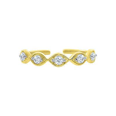 14K YELLOW GOLD FINISH 925 STERLING D/VVS1 WOMEN'S FASHION ADJUSTABLE TOE RING