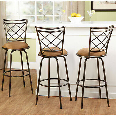 Swivel Bar Stools Kitchen Chairs Counter Adjustable Height Tall Brown Set of 3