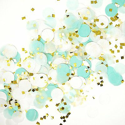Mint White Gold Metallic Tissue Paper Flakes Circle Confetti Party Decoration