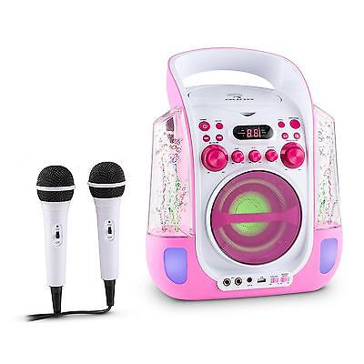 KARAOKE SYSTEM MUSIK ANLAGE KINDER PARTY WASSERFONTÄNE CD USB MP3 LEUCHTEND PINK