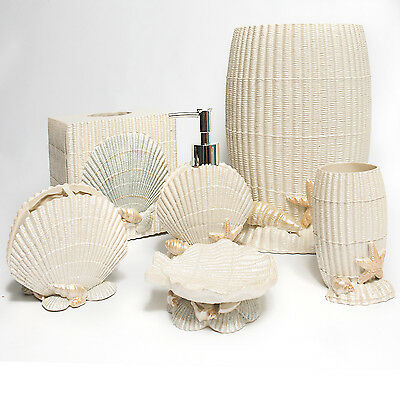 Ivory sea shell hand crafted bath accessory collection ebay for Sea bathroom set