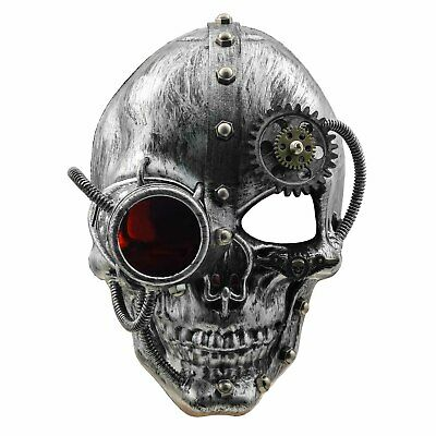 Gothic Steampunk Gears Skull Mask Mens Cosplay Masquerade