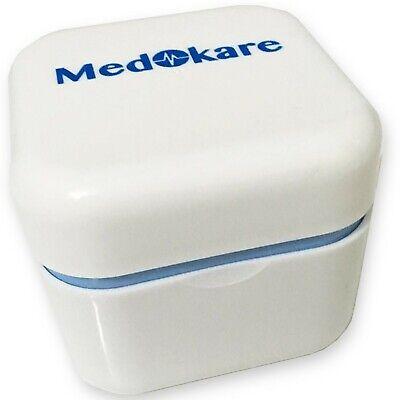 Denture Case with Strainer - Medokare Denture Cup with Lid and Mirror, Dentur...