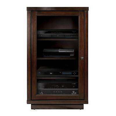 Espresso Media Wood Cabinet Audio Tower Electronics AV Stand Stereo Shelves Door Shelve Audio Stand