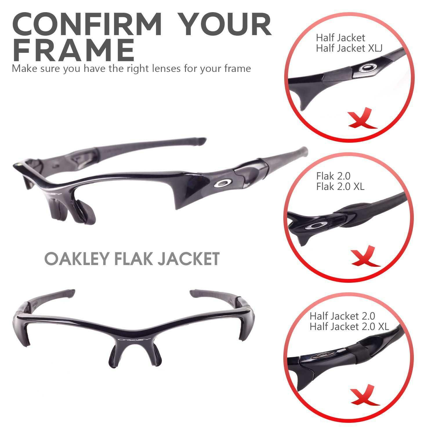 WALLEVA BLACK REPLACEMENT Lenses And Rubber Kit For Oakley Flak ...