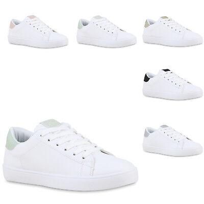 Damen Sneaker Low Glitzer Turnschuhe Schnürer Freizeit Schuhe 825901 Trendy Neu