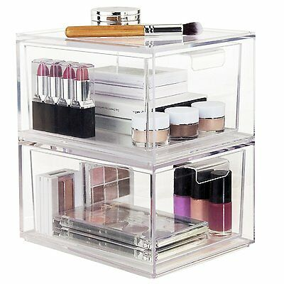 2-Pack Premium Quality Stackable Cosmetic Storage and Makeup Palette Organizer
