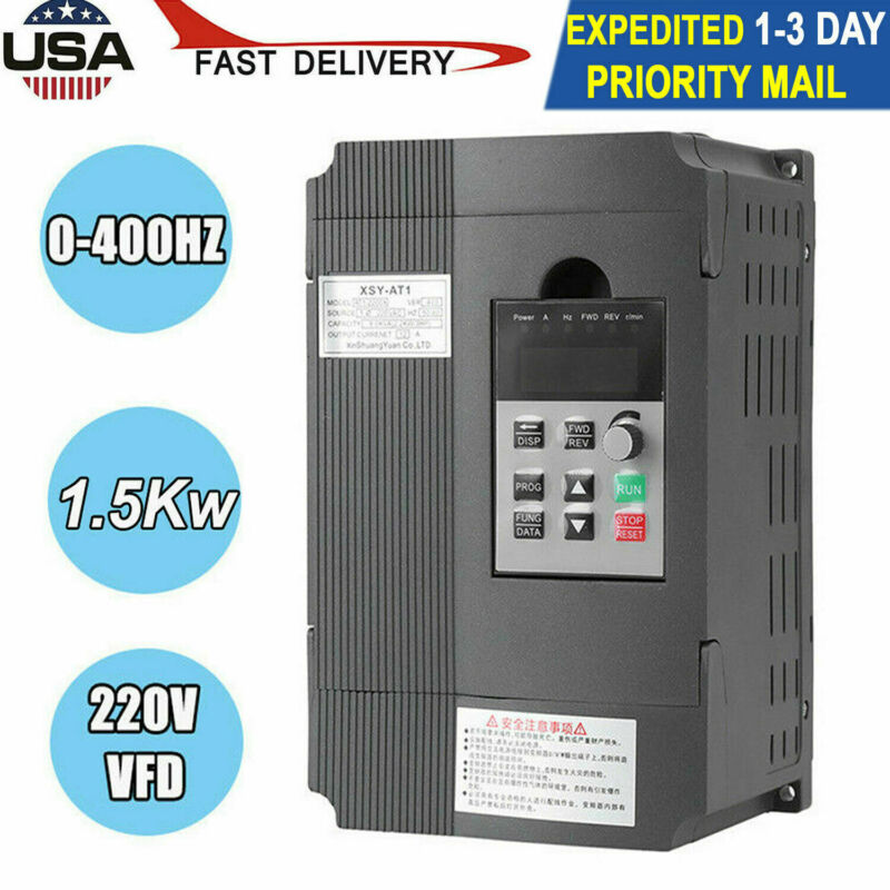 3HP 1.5KW Variable Frequency Drive Inverter VFD Single Phase To 3 Phase VFD 220V