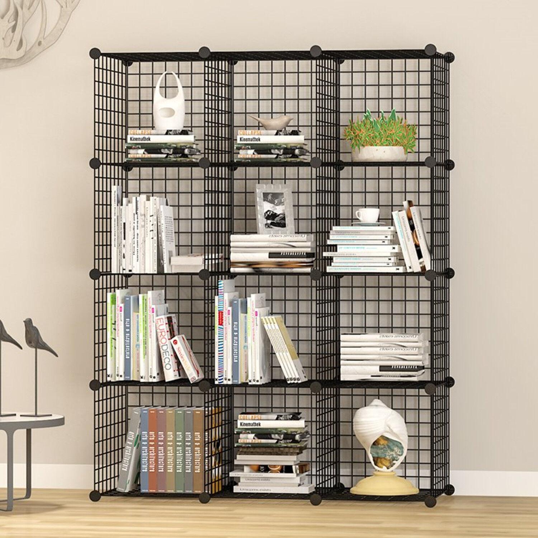 Unicoo-12 Cube Wire Grid Organizer, Bookcase, Storage Cabinet, Wardrobe Closet