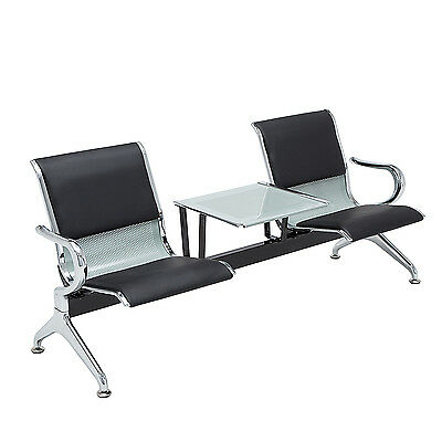Heavy Duty Waiting Chair Office Salon Steel Airport Reception 2-seat Wtable