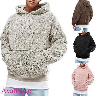 Ayalinggo Men's Winter Warm Fluffy Fleece Hoodie Pullover Sweatshirt Casual Coat Fleece Winter Pullover Sweatshirt