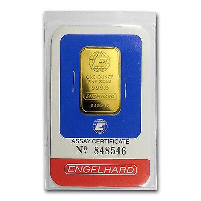 1 oz Gold Bar - Engelhard (Random Design, In Assay) - SKU #64785
