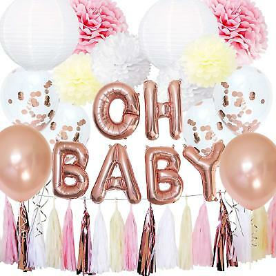 Girl Baby Shower Banner (Rose Gold Baby Shower Decorations for Girl OH Baby Banner Garland Lantern)