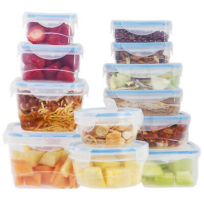 Plastic Storage Containers With Lids (24 Pcs Plastic Food Storage Containers Set With Blue Air Tight Locking)