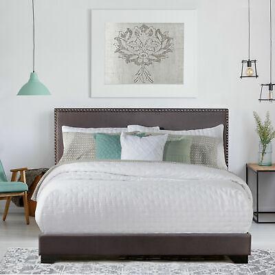 King Size Upholstered Bed Frame With Wood Slats Platform Hea