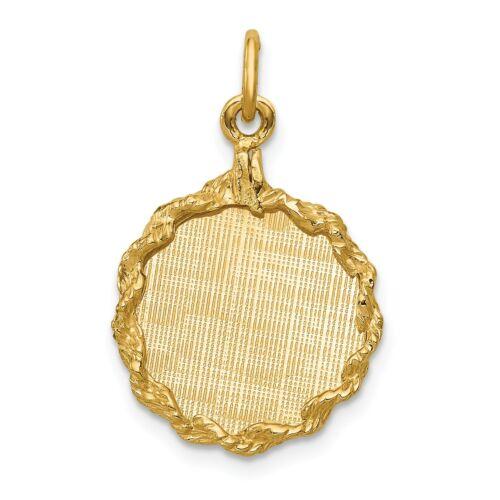 9ct Oro Amarillo Colgante de Disco Redondo Pequeño