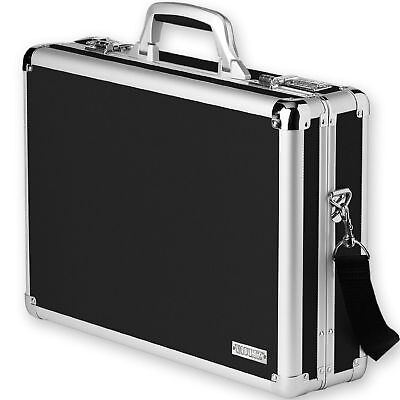 Black Locking Laptop Case Brief Document Portable Computer Transport Box Storage