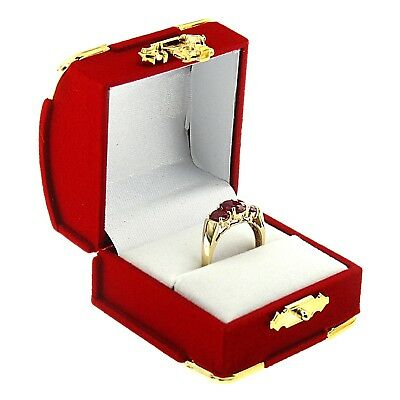 Red Velvet Engagement Ring Box Display Jewelry Gift Box Treasure Chest Velour (Treasure Chest Gift Box)