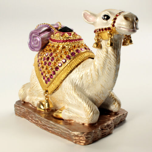 Bejeweled Camel Shaped Trinket Box, Faberge  Figurine With Crystals In Multi B