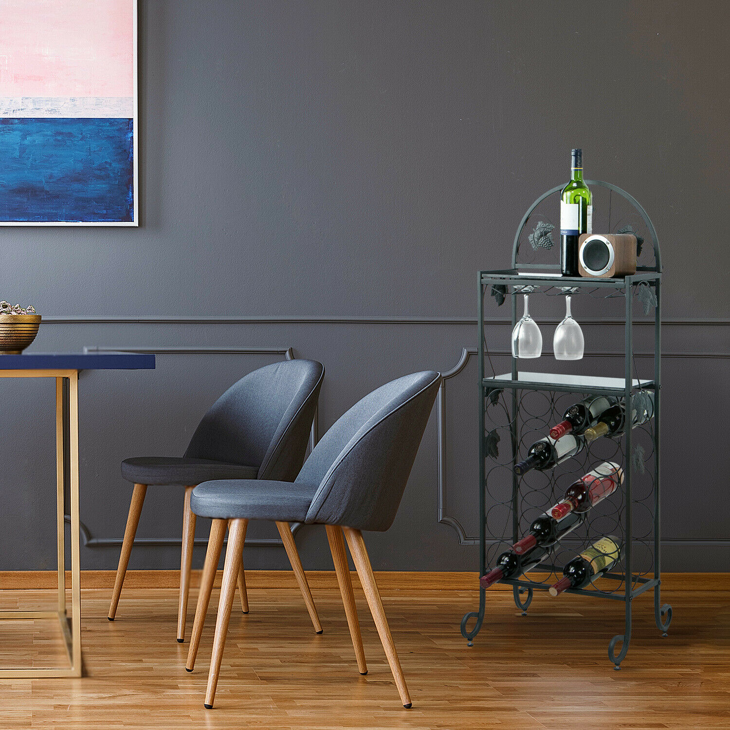 20 Wine Rack Table with Glass, Freestanding Floor Table with Marble Finish Top