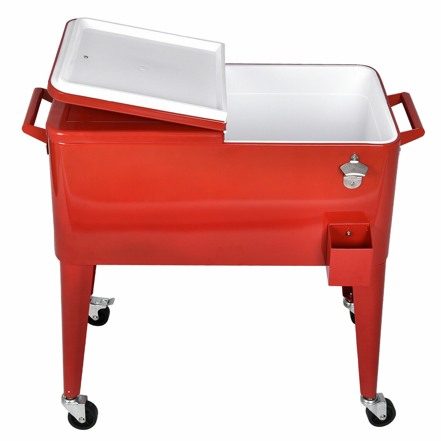 80 Quart Outdoor Rolling Cooler Cart Ice Chest Portable Pati