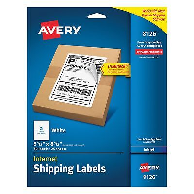 2- 50pc Avery Inkjet Perforated Shipping Labels Wht 8126 Usps Mailing Ups Fedex