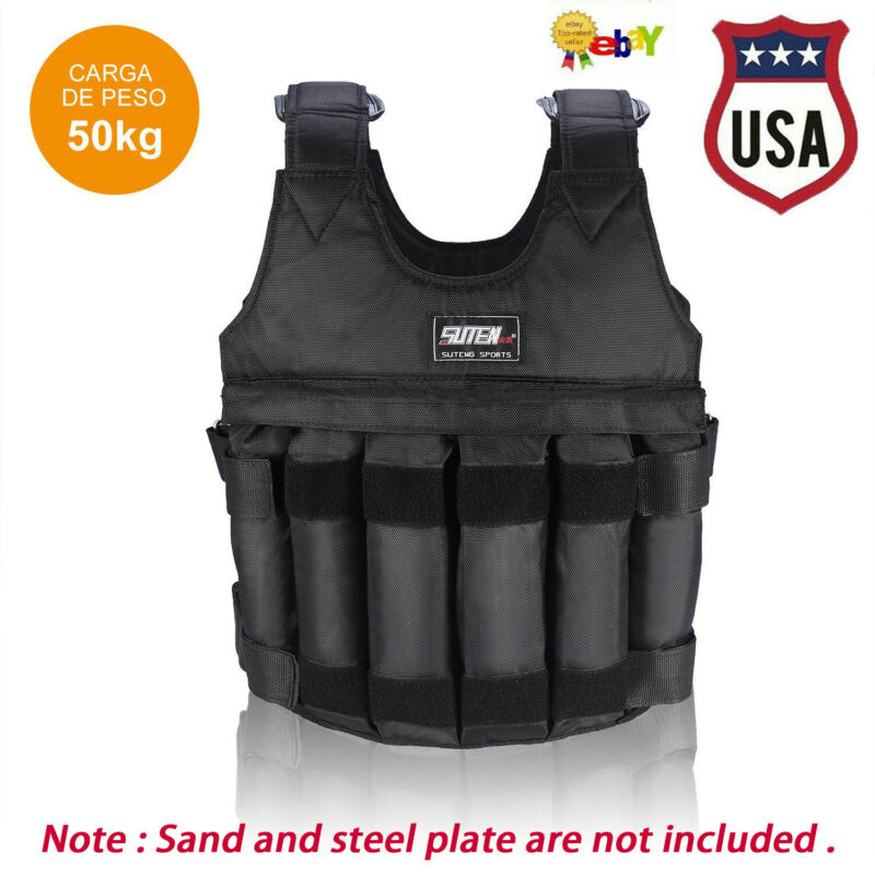 110LB Adjustable Workout Strength Training Weighted Vest Exercise Fitness 50KG
