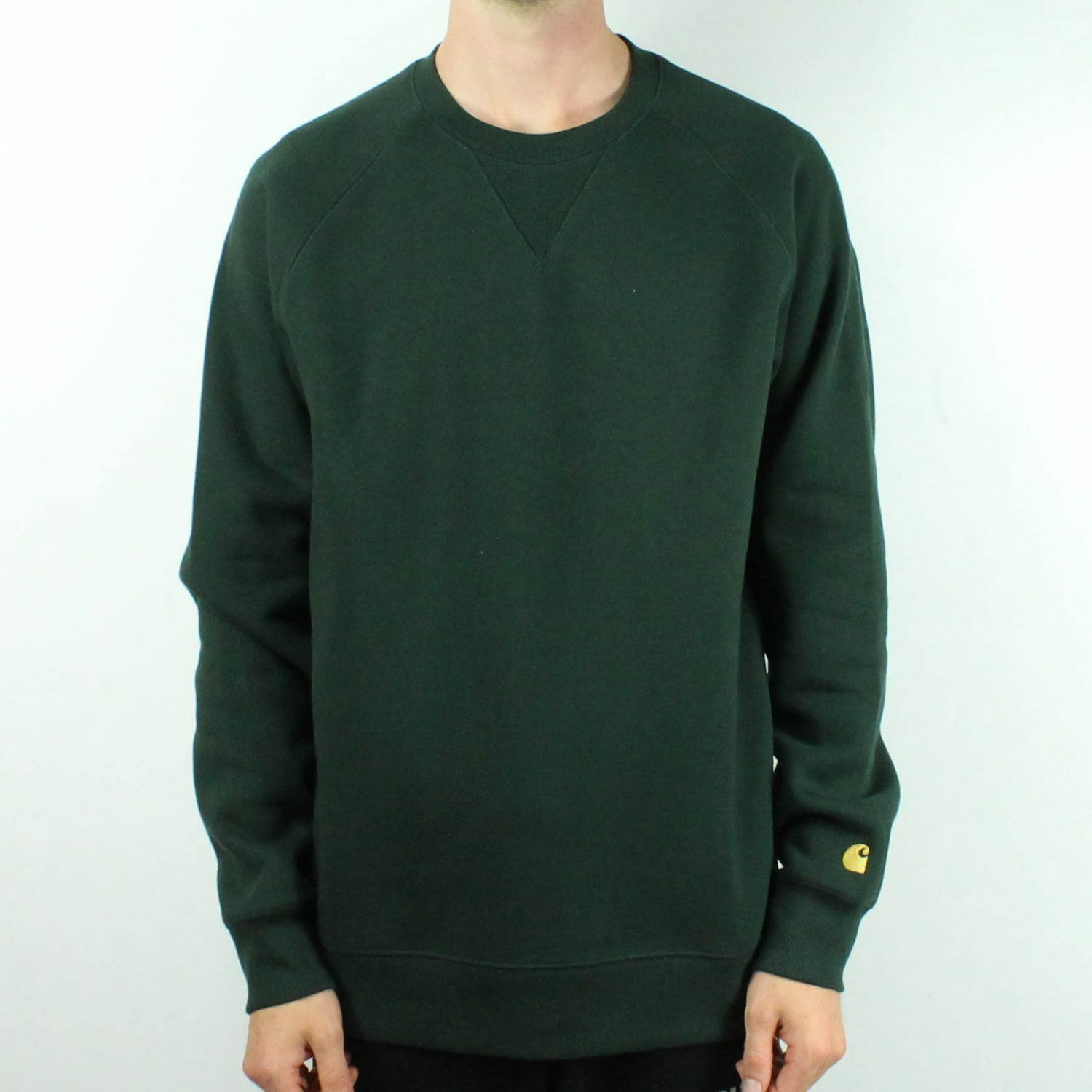 so cheap 100% high quality clearance sale Details about Carhartt Chase Sweatshirt Pullover Jumper in Loden Green/Gold  in sizes S,M,L