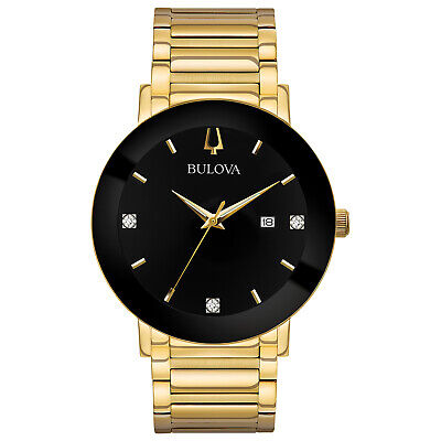 Bulova Men's Quartz Diamond Accents Black Dial Gold-Tone 40mm Watch 97D116