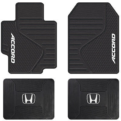 4pc Universal Black Rubber All Weather Front & Rear Floor Mats for Honda