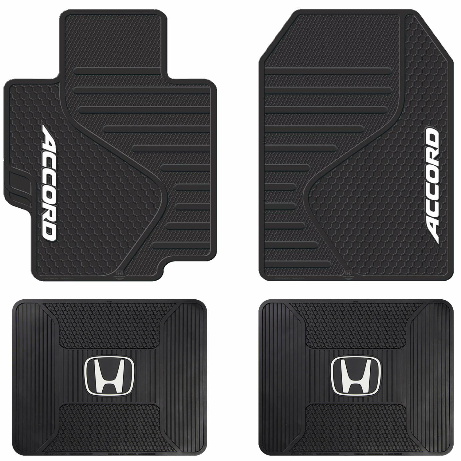 4pc Honda Accord Logo Universal Black Rubber All Weather Front & Rear Floor Mats
