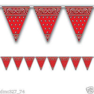 1 WESTERN Cowboy Farm Party Decoration RED BANDANA Print Pennant FLAG BANNER](Red Bandana Decorations)