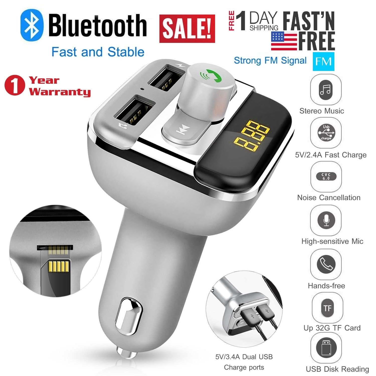 Bluetooth Car Wireless Fm Transmitter Dual Usb Charger Audio Mp3 Dc 5v Micro Power Supply Hands Free Lcd Screen Kit Player Mic
