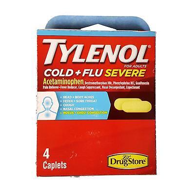 Tylenol Cold and Flu Severe Caplets, 4 Caplets - Cold Severe Caplets