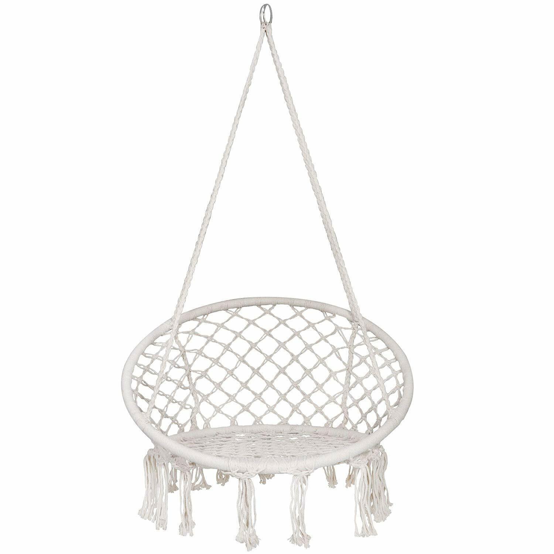 2X Hammock Cotton Swing Camping Hanging Rope Chair Wooden Beige Outdoor Patio Hammocks