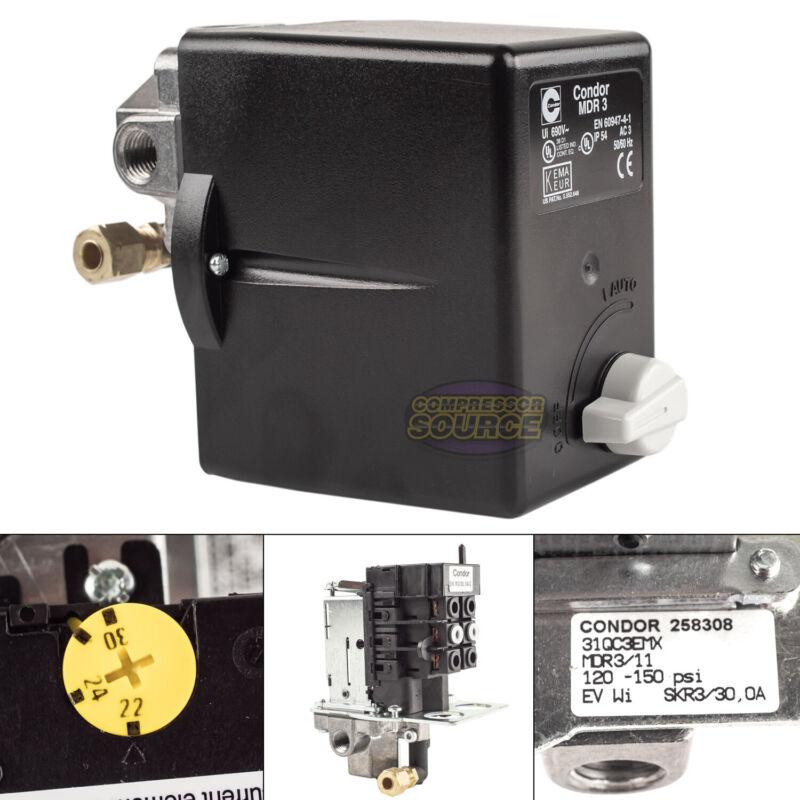 """Condor MDR3/11 120-150 PSI 4 Port Pressure Switch Adjustable Overload 1/4"""" FNPT"""