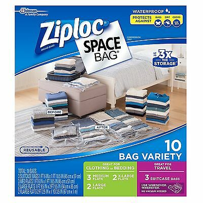 New 10 Ziploc Space Bag Vacuum Seal Storage Bags Waterproof Variety Size