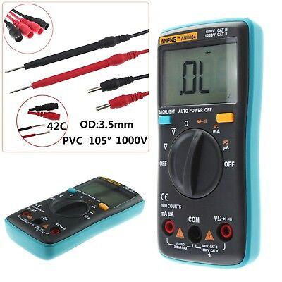 Blue Digital Multimeter Meter Fluke Volt Electric Tester AC/DC Voltmeter Set