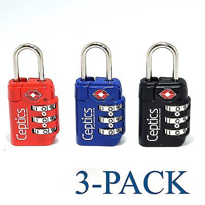 Ceptics Pack of 3 Travel Luggage 3 Digit Combination Padlocks TSA Approved Blac