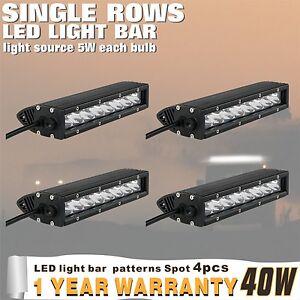 4-piezas-40w-9inch-Punto-Barra-Individual-Fila-Luz-Led-para-Jeep-Todoterreno