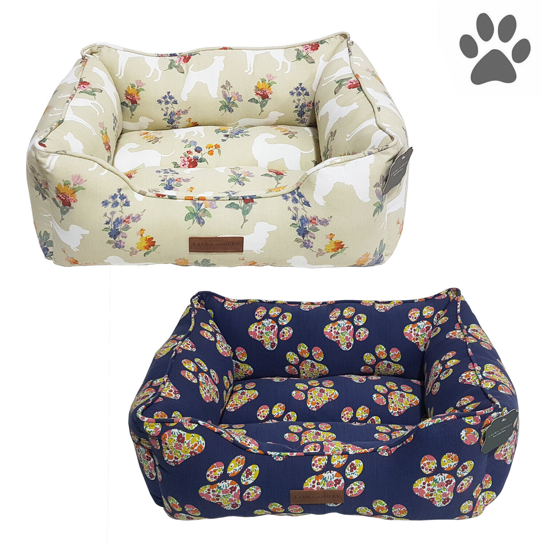 100% Cotton Floral Pet Dog Bed Cuddler High Bolster Washable, 25″ x 20″ Beds