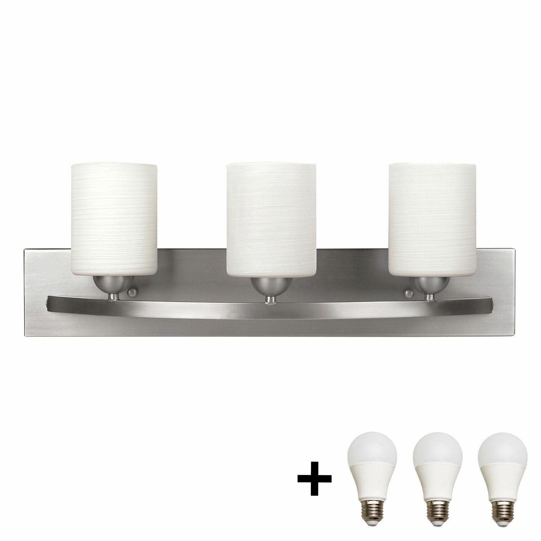Bennington Lakeland 3 Bulb Bath Vanity Light Bar Fixture, Brushed Nickel + Bulbs Home & Garden